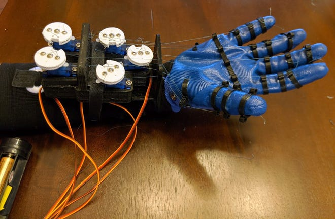 This robotic glove, called S.E.N.S.E. (Specialized, Easy-to-use, Novel Sign-language Expert) – A Multipurpose Robotic Glove Designed to Teach Sign Language Through Guided Manual Motions, was designed by Columbus Academy students Soham Joshi and Raaghav Malik, who won best in show and first place in the 11th-12th-grade category in the inaugural Invention Convention Globals event in August.