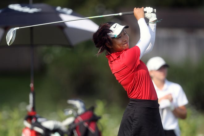Columbus School for Girls junior Emma Kim shot a 77 to tie for second in the Division II district tournament Oct. 4 at Darby Creek. The Unicorns' Kristina Ma, a freshman, earned medalist honors with a 72, advancing to state.