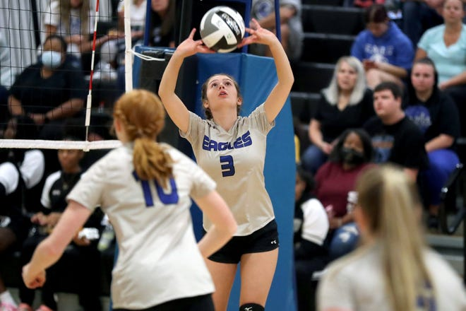 """Junior Sienna Brunicardi's contributions at setter have been a key factor in Grove City Christian's strong play this season. """"She made the commitment in the summer and put in the work and continues to put in the work,"""" coach Joe  Bradford said."""