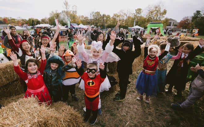 Costumed children gather for Dublin's Halloween Spooktacular at Coffman Park in 2019, the last time the event was held because of the COVID-19 coronavirus pandemic.