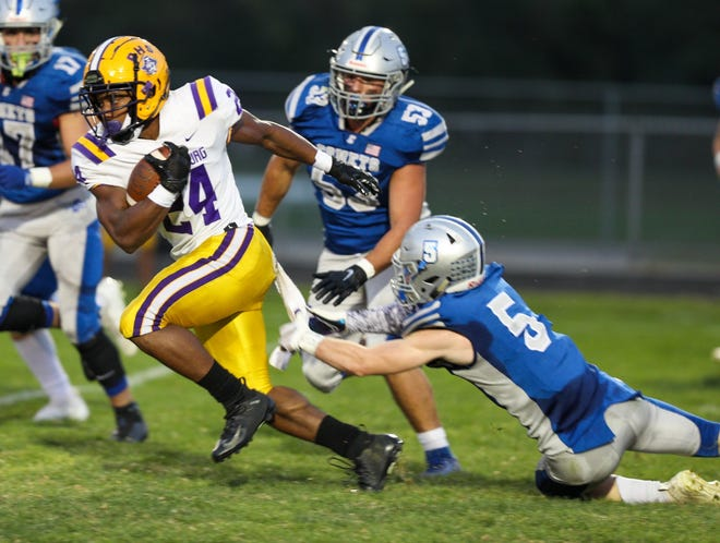 """Senior running back Jeremiah Crawford-Smith has returned from injury to boost the Reynoldsburg rushing attack. """"The doctor finally cleared him to play and he's come out with fresh legs and added a whole different dimension to our running game,"""" coach Buddy White said."""