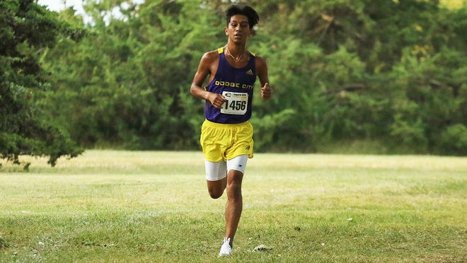 Dodge City CC men's cross country runner, Damion Santisteven races to a 36th place finish at the Colby Invite.