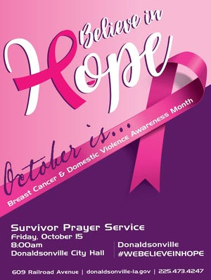 Believe in Hope is set for Oct. 15 at Donaldsonville City Hall