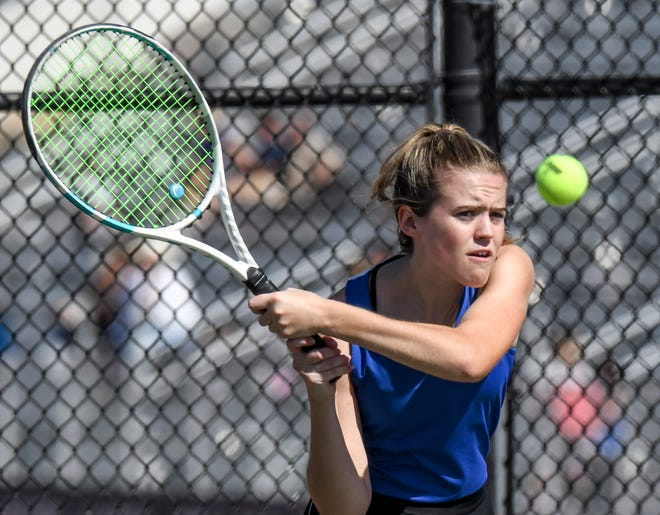 Garden City High School's Sage Riggs hits a backhand shot down the line during a doubles match in September at the GCHS girls tennis invite. Riggs was named the 2021 Western Athletic Conference Player of the Year Monday.