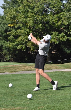 Orion's Vaughn Bernhardt tees off on the 10th hole during the Galva regional on Wednesday, Sept. 29, at Midland Golf Club near Kewanee. He advanced to the Petersburg PORTA sectional, where he qualified for the state tournament on Friday, Oct. 8, and Saturday, Oct. 9 in Bloomington