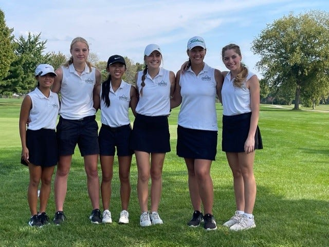 """The Geneseo High School Girls' Golf Team finished in second place at Regional competition held at Saukie Golf Course in Rock Island and hosted by Rock Island High School. In the photo are, from left, Keely Roberts, Addie Mills, Keely Nguyen, Claire Toone, Olivia Seei and Goergia McKelvain. Coach Jon Murray said, """"The girls showed what they were made of by coming back from a rough start and finishing strong for a second place. Congratulations to Georgia McKelvain, Keely Roberts and Olivia Seei for all setting personal record scores at such a critical time."""" Geneseo hosts the Sectional competition at Midland Golf Club in Kewanee."""