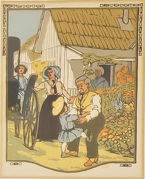 """""""September,"""" by Gustave Baumann, an original woodblock print from the James Whitcomb Riley book """"All the Year Round."""""""