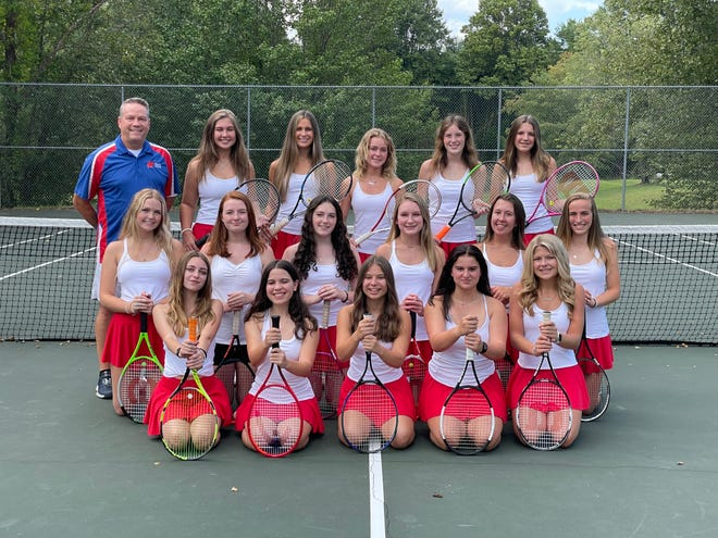 West Henderson's girls tennis team members from left to right are back row: Coach Allen Combs, Sydney Foster, Olivia Deitz, Karsyn Andress, Audrey Hood, Emileigh Atkins; middle row: Lillie Singleton, Catherine Jones, Emmy Atwell, Anna Turbyfill, Perci Moore, Jenna Watson;  front row: Lillie Milner, Bella Conroy, Hannah Peters, Tori Knight and Kamryn Rumbough