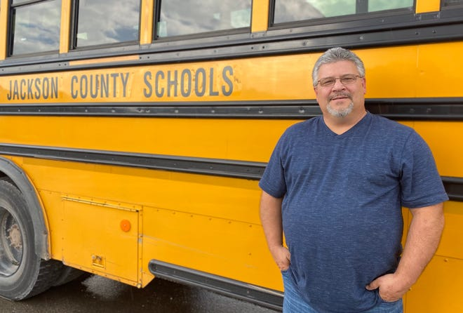 Rich Casto, director of transportation for Jackson County Schools, has run more routes than he usually does this far into a school year because of the substitute driver shortage.