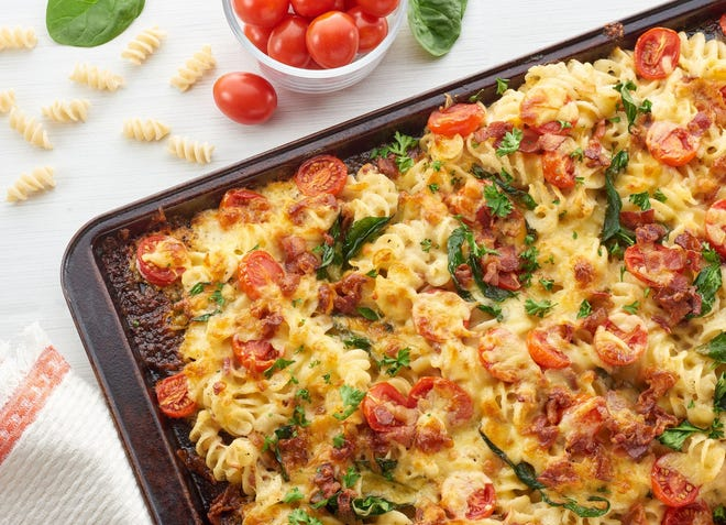 Sheet Pan Pasta with Spinach Tomato and Bacon made from a Made in Oklahoma Coalition recipe.