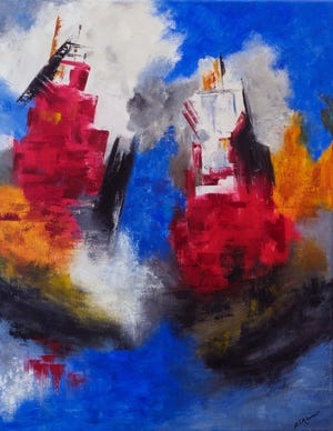 """""""Tugs Too"""" by artist Barbara Adams, an oil on canvas, is on display in the """"Abstracting The Seacoast"""" exhibit which runs through Nov. 18 at the Portsmouth Historical Society's Discover Portsmouth Center in Portsmouth."""