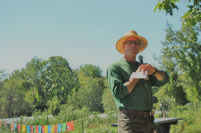 Dr. Cameron Wake makes remarks at the Kittery Land Trust's Annual Meeting after being named Conservationist of the Year.