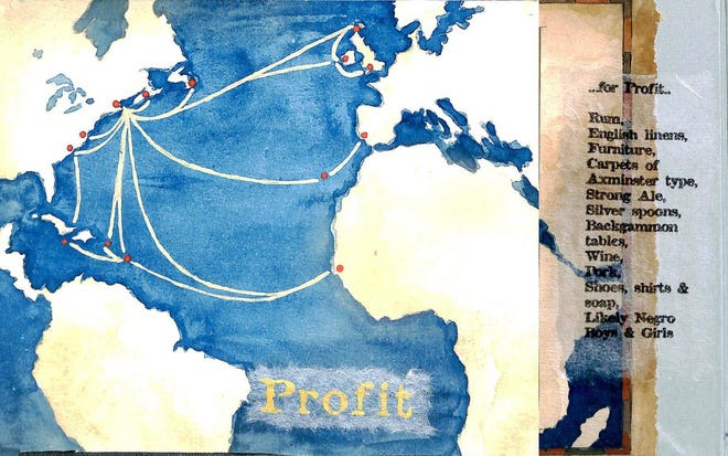 Athenaeum Research Librarian Carolyn Marvin helped artist Carolyn Dixon map the path of enslaved people from West Africa to Holland, then England, the Orkneys and Portsmouth. This illustration is from an art book Dixon created.