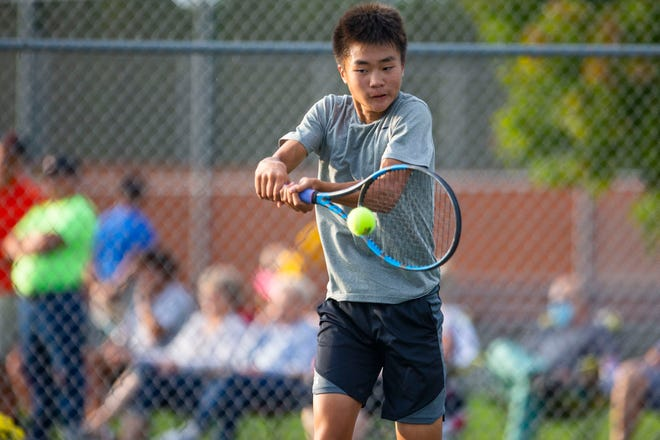 Penn's Chris Chen during the regional tennis matches Tuesday, Oct. 5, 2021 at LaPorte High School.
