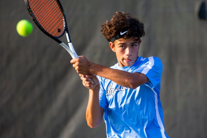 Saint Joseph's Daniel Pries during the regional tennis matches Tuesday, Oct. 5, 2021 at LaPorte High School.