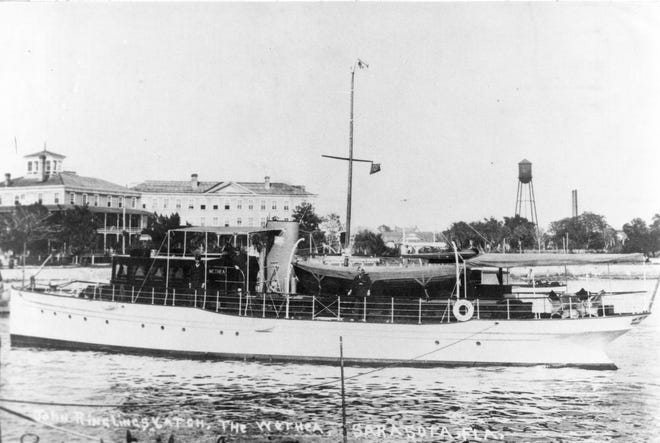The Ringling yacht Wethea anchored in Sarasota Bay. In the distance is the enlarged Belle Haven Hotel, built by John Hamilton Gillespie as the DeSoto Hotel.