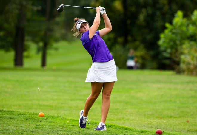 Jacksonville Routt's Addie Dobson tees off on the No. 2 hole during the Class 1A Auburn Sectional at Edgewood Golf Club in Auburn, Ill., Monday, October 4, 2021. [Justin L. Fowler/The State Journal-Register]