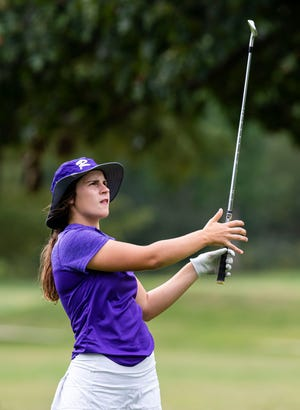 Jacksonville Routt's Addie Dobson watches her approach shot on the No. 1 hole during the Class 1A Auburn Sectional at Edgewood Golf Club in Auburn, Ill., Monday, October 4, 2021. [Justin L. Fowler/The State Journal-Register]