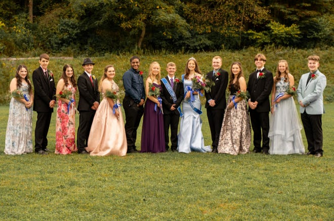 Johnstown Christian School's homecoming was held Oct. 2. Pictured is the homecoming court and class representatives, from left to right: Sybella Mack, Elijah Williams, Dakota Wilson-Boyles, Aaron Viscusi, Allenna Shellenberger, Michael Taylor, Mary Hostetter, Jacob Huston (king), Sarah Huston (queen), Tyler Williams, Kasmira Mack, Noah Baker, Unity Miller and Sam Ribaric. Jeremiah Taylor is not pictured.