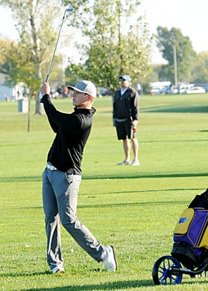 Watertown High School sophomore Jake Olson shot a 2-under par 70 and grabbed a four-shot lead Monday after the opening round of the state Class AA boys golf tournament at the Broadland Creek Golf Course in Huron.