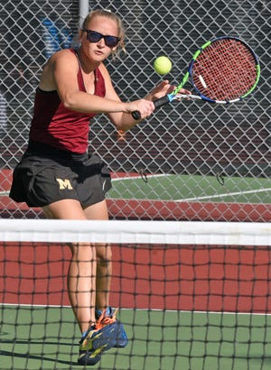 Milbank Area's Hattie Muellenbach hits a backhand shot during her first flight singles match against Vermillion's Emma Jury on Monday during the opening day of the state Class A high school girls tennis tournament at Sioux Falls. Muellenbach won two matches to reach the semifinals in the flight.