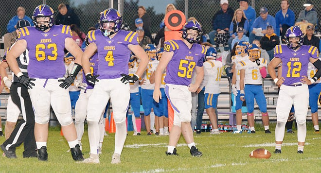 Defensive linemen Jarrett Theisen (63), Hunter Wientjes (4), Brock Eitreim (58) and Devon Lewis (12) wait for signals from the sideline during the team's 30--0 homecoming win over Aberdeen Central on Friday night at Watertown Stadium. The win helped the Arrows move back into the Class 11AA rankings at No. 5 this week.