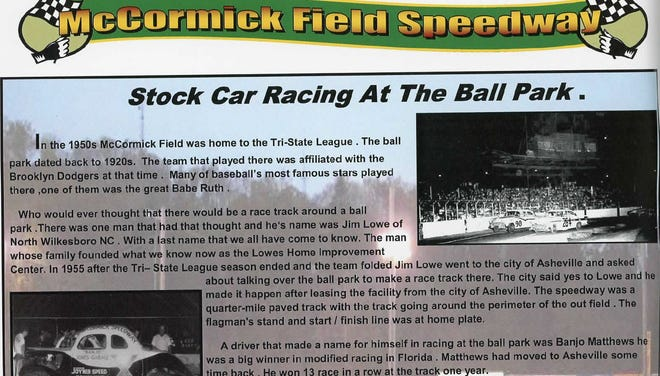 """The book, """"Thunder in the Mountains: The History of Racing in Western North Carolina,"""" includes a section on how NASCAR racing came to Asheville's McCormick Field baseball stadium in the mid-1950s."""