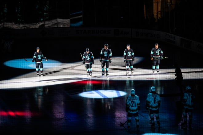 The Seattle Kraken took the ice for the first time against the Vancouver Canucks in a preseason opener on Sept. 26 in Spokane. Seattle opens NHL play on Oct. 12 at Vegas, and will play a regular season game at home for the first time on Oct. 23.