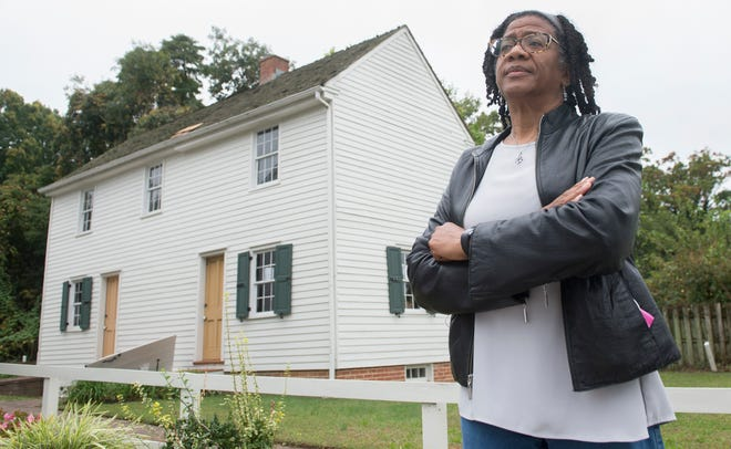Linda Shockley, President of the Lawnside Historical Society, stands by the Peter Mott House, a Lawnside historical site and a stop on the Underground Railroad that is in dire need of repairs.