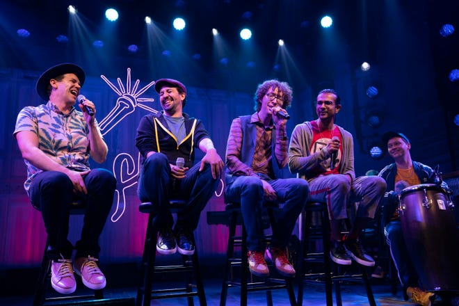 "Anthony Veneziale, from left, Lynn-Manuel Miranda, Arthur Lewis, Utkarsh Ambudkar and Chris Sullivan at the Booth Theater ""Freestyle Love Supreme""."
