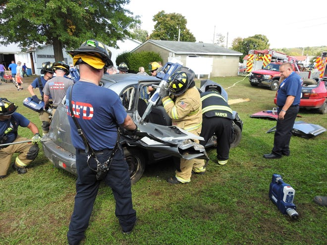 Personnel with the Three Rivers Fire District and Coshocton Fire Department did a vehicle extrication demonstration at the Coshocton County Fair. It was shown how they cut doors, roof and dashboard if someone is trapped in a car from a traffic crash.