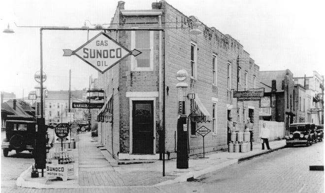This Sunoco Oil station was at the corner of North Front and Arch streets in Fremont.
