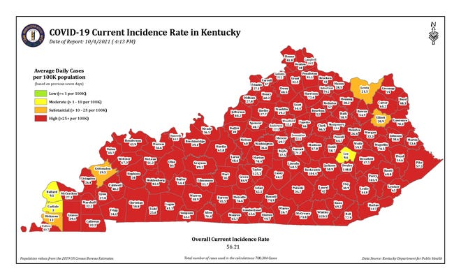 A map of COVID-19 incidence rates in the state of Kentucky, broken down by counties, issued by the state Department for Public Health on Tuesday.