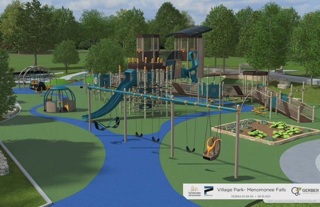Phase 2 of the Menomonee Falls Village Park project is scheduled to be completed by fall 2022.  Renovations and upgrades include a splash feature, an all-inclusive play area and renovated tennis and pickleball courts.