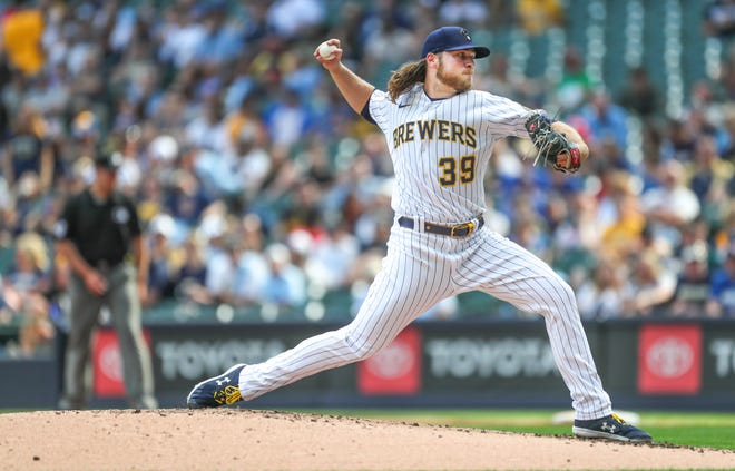Milwaukee Brewers starting pitcher Corbin Burnes (39) throws a pitch during the fourth inning against the Colorado Rockies game Friday, June 25, 2021, at American Family Field in Milwaukee.