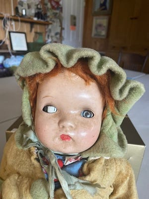"""""""Joyce"""" was Sanilac County Historic Village & Museum's first submission to its upcoming creepy baby doll contest. Gerry Pearson received the doll as a gift in 1945 when she was 10 years old."""