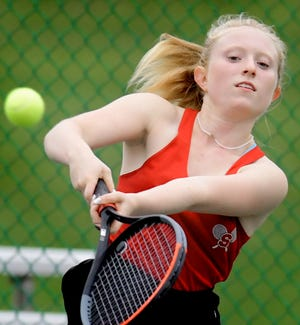Susquehannock's Peyton Joines returns against Littlestown's Lura Johnson in their top-seeded match during tennis action at Susquehannock Tuesday, Oct. 5, 2021. Bill Kalina photo