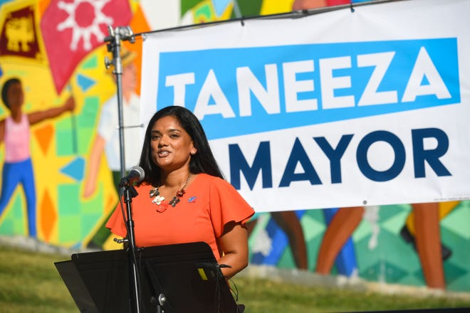Taneeza Islam announces her candidacy for mayor of Sioux Falls on Tuesday, October 5, 2021, at Meldrum Park in Sioux Falls.