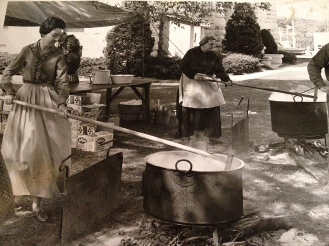 Apple butter being made at an early Apple Butter Makin' Days in Mount Vernon.