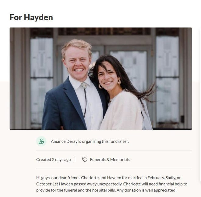 Friends of Hayden Holmen, who collapsed and died after participating in the St. George Marathon on Saturday, are trying to raise funds to help with funeral expenses and medical bills. The 22-year-old from Idaho had recently married.