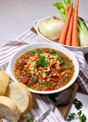 This one-pot Lentil Soup with Carrots, Onions, and Celery is perfect for lunch or a light dinner.
