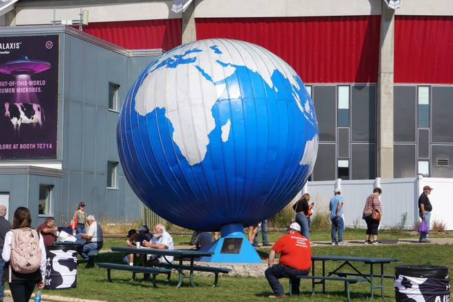 The iconic World Dairy Expo globe still spins in 2021.