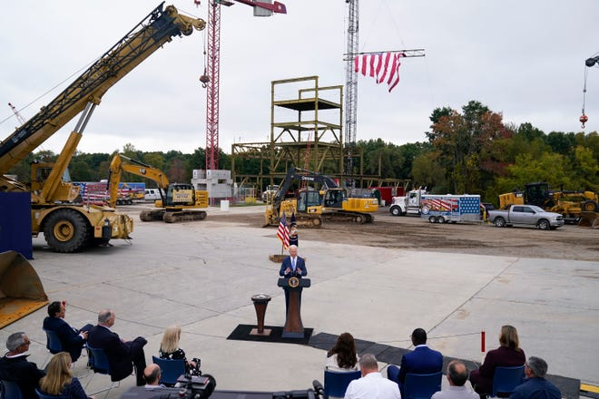 """President Joe Biden delivers remarks on his """"Build Back Better"""" agenda during a visit to the International Union Of Operating Engineers Local 324, Tuesday, Oct. 5, 2021, in Howell, Mich."""