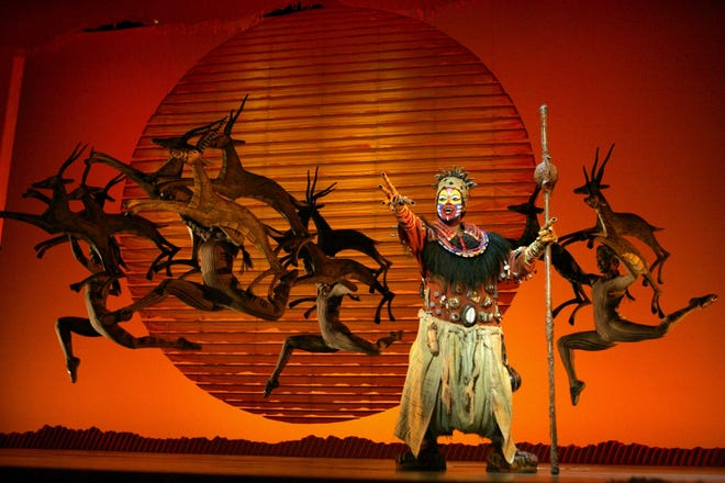 """Gugwani Dlamini of South Africa plays the wise Rafiki in Disney's """"The Lion King,""""  running through Oct. 15 at Cleveland's Playhouse Square."""