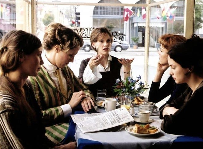 """Actresses Hilary Swank, Vera Farmiga, Laura Fraser, Frances O'Connor and Brooke Smith are pictured in a scene from the 2004 film """"Iron Jawed Angels"""". The film will screened at 6 p.m. Oct. 14 in Old Main 220. Dr. Jean Stuntz, Regents' Professor of History, will introduce the film and moderate discussion. Admission is free, and popcorn and drinks will be available."""