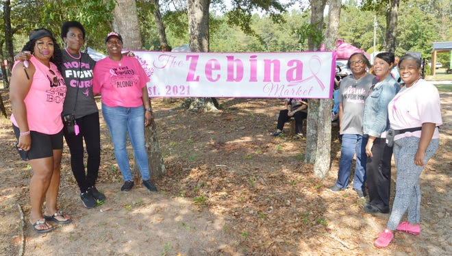 Joe and Pam Nelson's Zebina Market recognized area breast cancer survivors at its Oct. 1 event. Pictured here (left to right) are Yolanda Neely, Eyvone McCloud, Tamicka Butts, Annie Gaines, Pam Nelson and Tywanda Roberts.