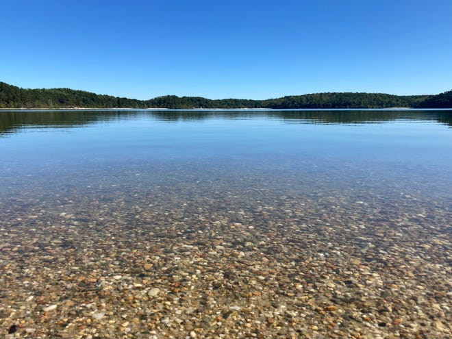 The amazingly clear water of Cliff Pond in Brewster.