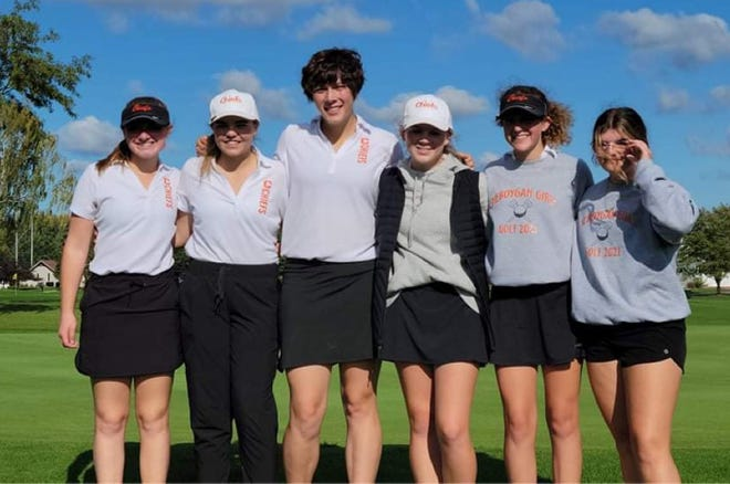 The Cheboygan girls golf team qualified for the state finals after finishing third at a MHSAA Division 3 regional meet in Alma on Tuesday. From left, members of the team include Ella Kosanke, Jenna Webber, Mabel Styburski, Katie Maybank, Emily Clark and Sydney Jewell.