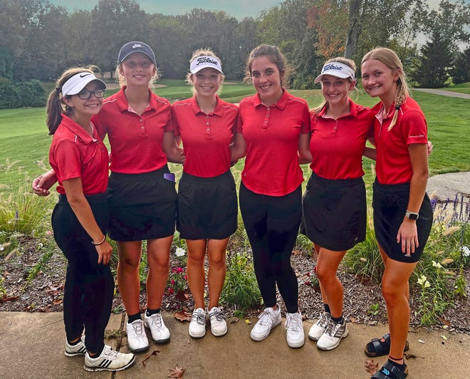 The Coldwater Lady Cardinal Golf team consisting of (from left) Anissa Stevens, Taylor Musselman, Hailey Price, Ashley Drzewicki, Katie Kimble and Ezma Machan.