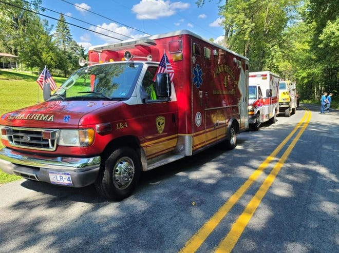 Lake Region EMS participated in the 100th anniversary parade for Beach Lake Fire Department, September 11. / Lake Region EMS photo